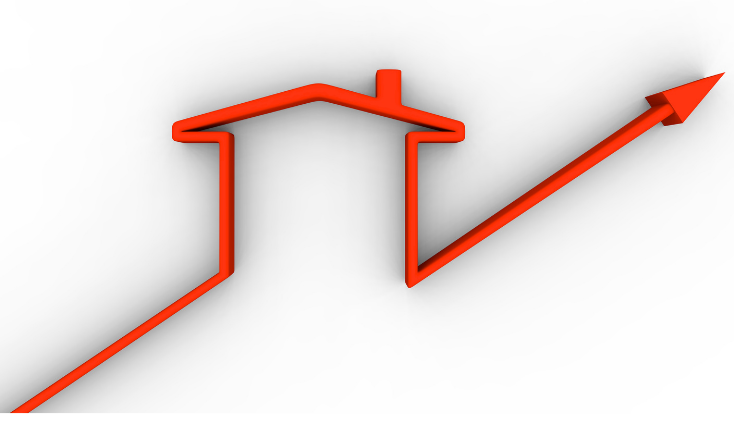 outline of house with upward facing arrow